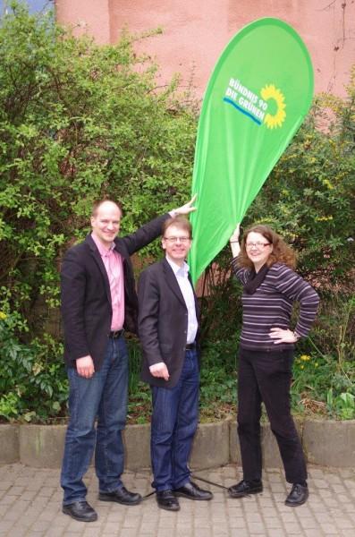 Anja Liebert (rechts) und Marc Schulz (links) mit Markus Kurth MdB